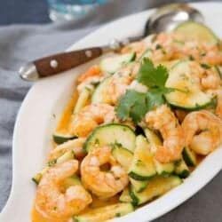 The flavors in this Thai Shrimp Stir Fry with Zucchini are beyond amazing! Plus, this healthy dinner comes together in about 25 minutes. 213 calories and 7 Weight Watchers SmartPoints